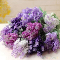 10 Heads Artificial Lavender Silk Flower Bouquet Wedding Home Party Decor = 1933105860