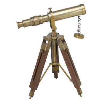 Telescope on Stand Antiqued Brass Working and Decorative 15X