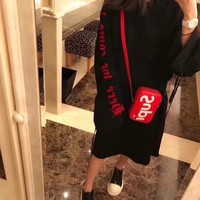 """Chrome Hearts"" Women Fashion Personality Letter Hooded Long Sleeve Loose Medium Long Section Sweater"