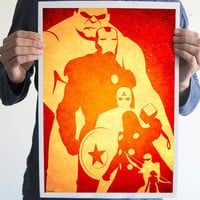 The avengers print art The Hulk Iron man Captain america thor Hawkeye Black Widow movie poster geek