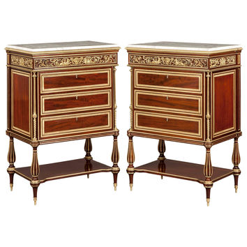 Pair of Mahogany, Gilt and Marble Topped Chest of Drawers in the French Style
