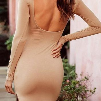 Khaki Split Side Open Back Long Sleeve Bodycon Dress
