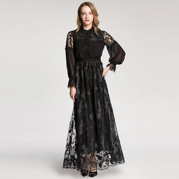 ICIKON3 retro women dress round collar lace patchwork long sleeve designer embroidered dress mopping floor long maxi dress