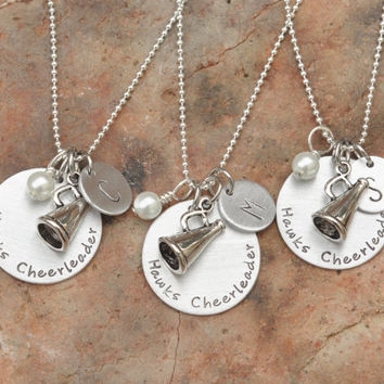 Hand stamped cheerleading necklace  Cheer  by brandedheart on Etsy