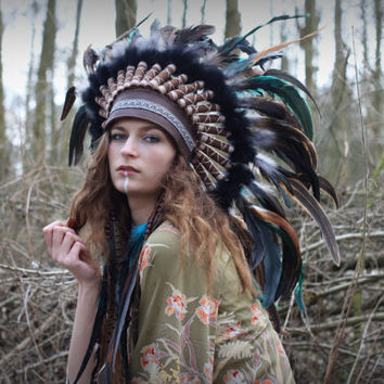 Feather headdress, statement feather crown, feather headband, feathered festival headdress