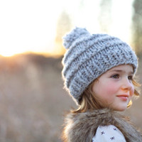 Cozy Chunky Knit PomPom Hat - Toddler Child Adult