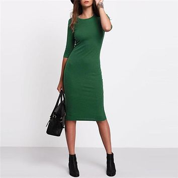 New Arrival Casual Green Crew Neck Half Sleeve Midi Dress