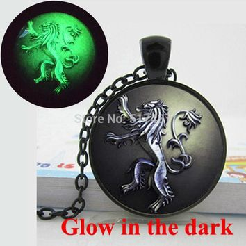 Glow in the dark game of thrones necklace lannister necklace glass art photo necklace Glowing Jewelry