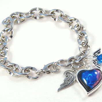 Silver Heart and Angels Charm Bracelet