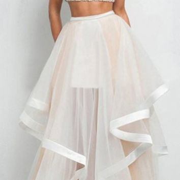 Apricot Round Collar Sleeveless Crop Top with Flounced Sheer Skirt