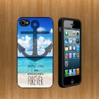 Naval Beach Anchor Quote Custom Case/Cover FOR Apple iPhone 5 BLACK Rubber Case WITH FREE SCREEN PROTECTOR ( Verison Sprint At&t)