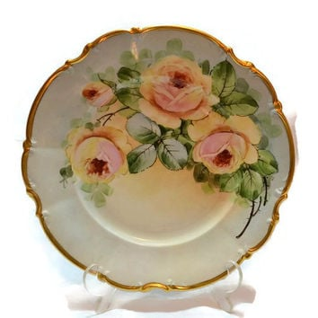 """Bavaria Germany Hutschenreuther Plate with Hand Painted Yellow Roses and  24K Gold Trim Osborne China 10"""""""