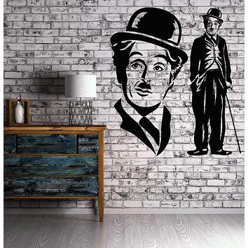 Vinyl Decal cinema decor Wall Stickers Comedian Charlie Chaplin Film Actor Writer Composer Director Hollywood Unique Gift (n009)
