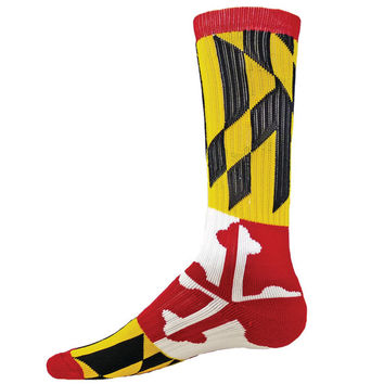 MARYLAND Flag Crew Socks basketball Terrapins Lacrosse Lax terps elite **FREE SHIPPING**