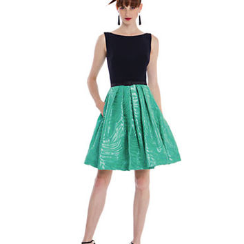 Theia Colorblock Pleated A Line Dress