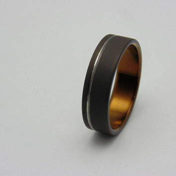 Titanium ring with Antique Bronze lining and polished groove,  Handmade titanium wedding band