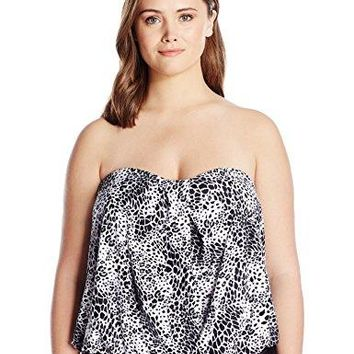 Coco Reef Womens Plus Size Bandini Top Swimsuit with Waist Detail