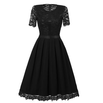 Black Lace Round Neck Short Sleeve Skater Dress