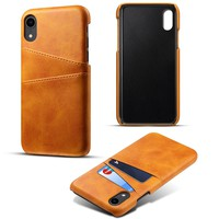 For iPhone Xs Max/Xr/X/Xs/7/8 Plus case Retro PU Leather Phone Case with Card Slots