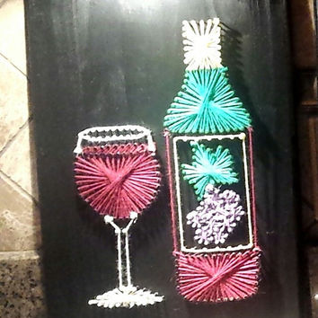 Wine Glass With Wine Bottle String Art.