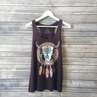 Amani Skull Dreamcather Tank (Wine)