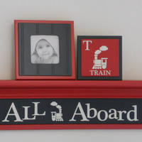 "All Aboard Children's Room / Wall Decor, Train Art Red Sign in 24"" Black Shelf, Baby Nursery Decor Railroad Little Engine Wooden Shelf"