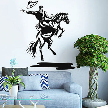 Rodeo Cowboy On A Bull Vinyl Decals Wall Sticker Art Design Living Room Modern Stylish Bedroom Nice Picture Home Decor Hall  Interior ki593
