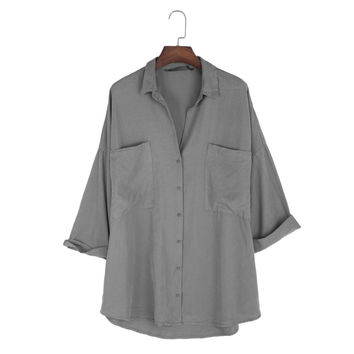 Loose Big Pocket Tencel Blouse For Ladies Summer New Women's Lterary Small Fresh Solid Color Cotton Shirt Linen Shirt Big Yards