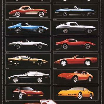 Chevrolet Corvette 1957-1994 Sports Car Poster 24x36