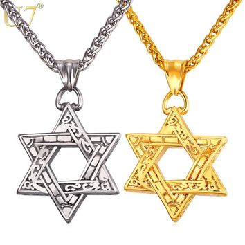 U7 Jewish Magen Star Of David Pendant Necklace Men/Women Chain Stainless Steel Silver/Gold Color Vintage Israel Jewelry P115