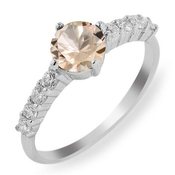 0.96 Ct Round Peach Morganite 925 Sterling Silver Ring