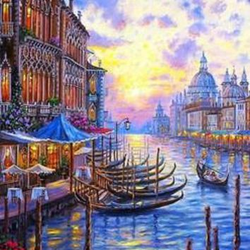 Frameless 40x50cm pictures on the wall DIY oil painting on canvas  picture painting by numbers quadros Venice DP935