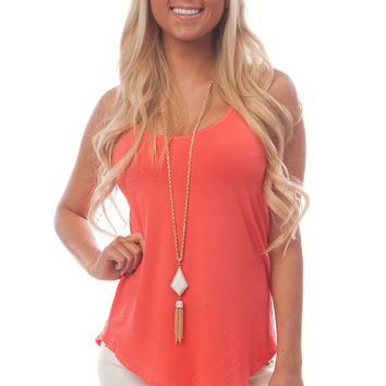 Coral Loose Scoop Neck Tank Top