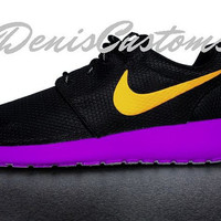Nike Roshe Run Black Custom Purple Sole and Yellow Swoosh Paint