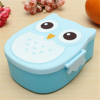 Portable Children Cute Cartoon Lunch Box Owl Food-safe Food Picnic Container Picnic Carry Tote Lunch Bowels