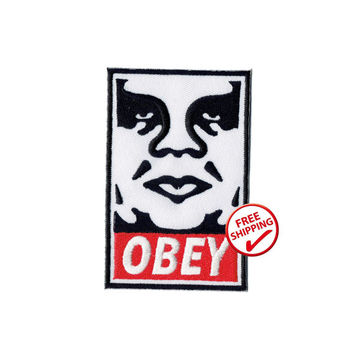 "Iron on sew on patch / patch ""OBEY"" free shipping"