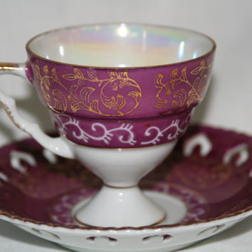 Tea Cup - Lusterware - Footed Tea Cup - Maroon - Filigree Plate - Gold Trim - Tea Cup and Saucer