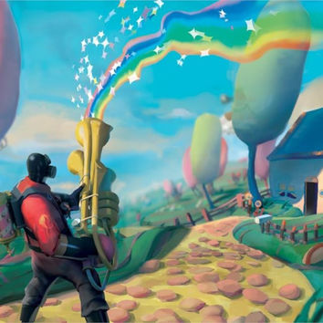 lovely rainbow house pyro tf2 team fortress 2 artwo 4' Size Poster Prints