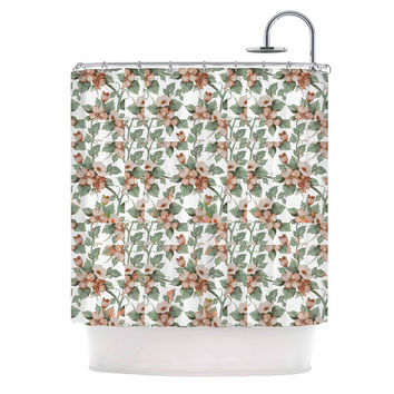 """Suzanne Carter """"Vintage Flowers"""" Green Floral Shower Curtain"""