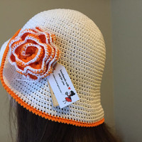 Crochet Woman Sun Hat with Brim