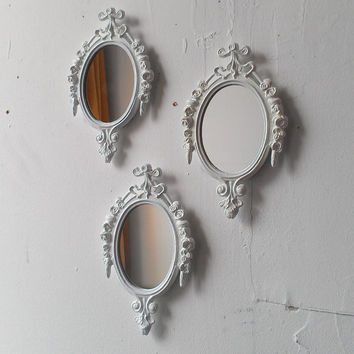 Oval Wall Mirror Set of Three in Glossy True White, Small Decorative Mirrors