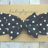 Black and White Polka Dot Big Baby Bow Headband / Big Toddler Bow Headband / Big Child Bow Headband / Mommy and Me Sets / Baby Accessories