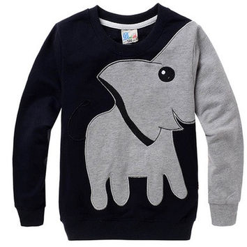 Kids Unisex Baby Elephant Cartoon Head Long Sleeve T-shirt [8270341825]
