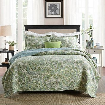Queen size 3-Piece 100% Cotton Bedspread Quilt Set with Green Paisley Pattern