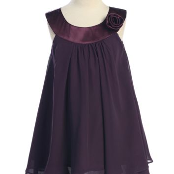 Girls Purple Chiffon Shift Dress with Satin Trimmed Yoke Bodice 2T-14