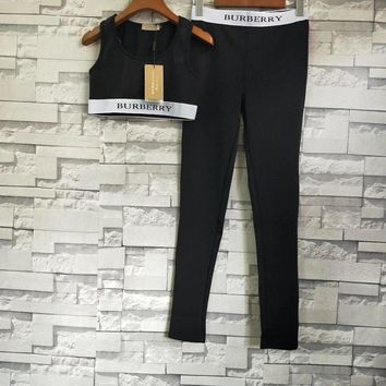Burberry Logo Stretch Jersey Bra Top Jersey Legging Set Two-Piece