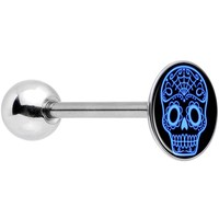 Stainless Steel Black and Blue Sugar Skull Barbell Tongue Ring