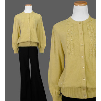 1940s Sweater, 40s Beaded Cardigan, Gold Yellow Cable Knit Puff Sleeve Wool Mohair Cardigan Sweater, Pearl Embroidery Rhinestone Button