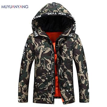 Fatigues Hooded Zipper Coat Men's Down Jacket White Duck Down Jacket For Male Warm Overcoat