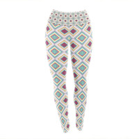 "Empire Ruhl ""Hip Diamonds"" Diamond Pattern Yoga Leggings"